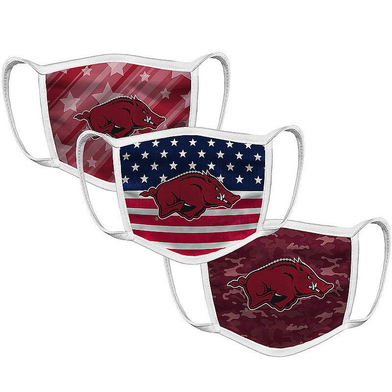 Original Retro Brand Arkansas Razorbacks Retro Face Covering 3-Pack Patriotic ARKMSK034A-ARKMSK035A-ARKMSK036A (Original Retro Brand)