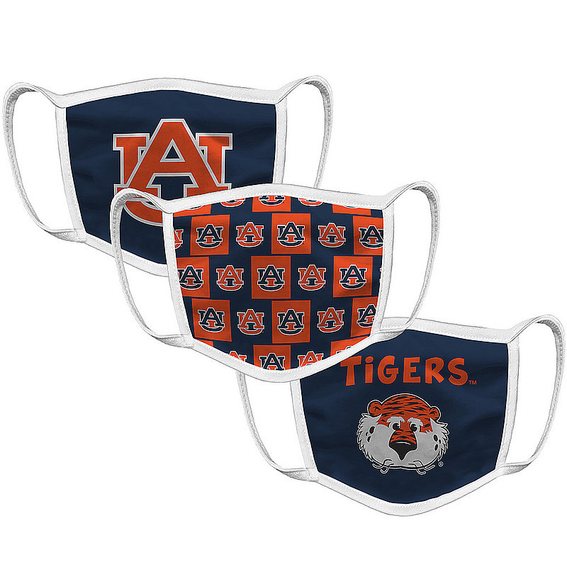 Original Retro Brand Auburn Tigers Retro Kids Face Covering 3-Pack AUBMSK133S-AUBMSK146S-AUBMSK147S (Original Retro Brand)