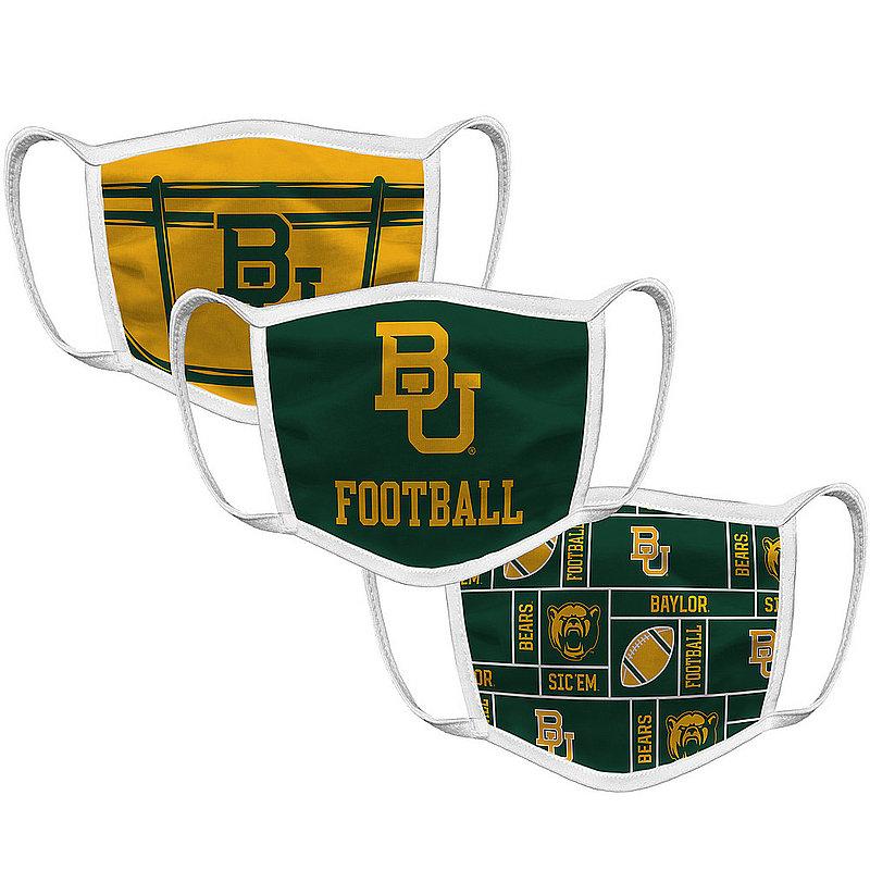 Original Retro Brand Baylor Bears Retro Face Covering 3-Pack Football BAYMSK033A-BAYMSK032A-BAYMSK022A (Original Retro Brand)