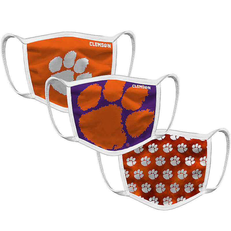 Original Retro Brand Clemson Tigers Face Covering 3-Pack CLMMSK101A-CLMMSK106A-CLMMSK127A (Original Retro Brand)