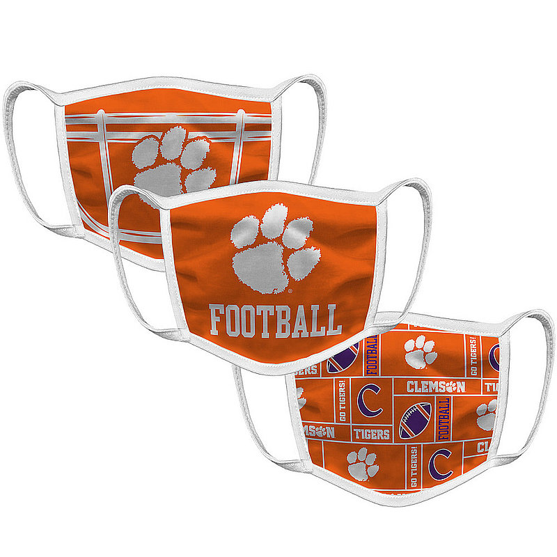 Original Retro Brand Clemson Tigers Face Covering 3-Pack Football CLMMSK032A-CLMMSK033A-CLMMSK022A (Original Retro Brand)