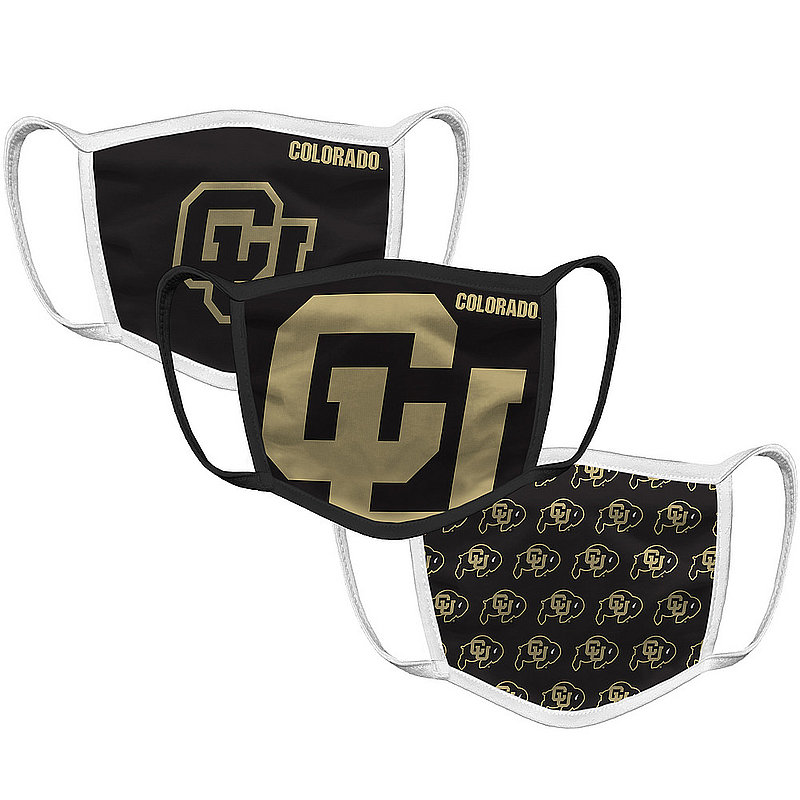 Original Retro Brand Colorado Buffaloes Retro Face Covering 3-Pack COLMSK051A-COLMSK127A-COLMSK006A (Original Retro Brand)