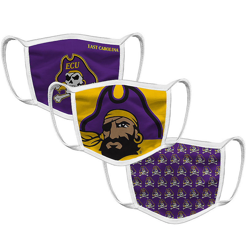 Original Retro Brand East Carolina Pirates Retro Face Covering 3-Pack ECUMSK101A-ECUMSK106A-ECUMSK127A (Original Retro Brand)