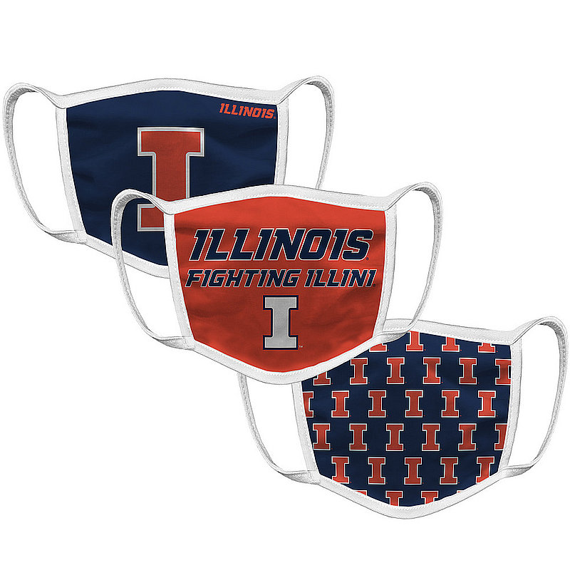 Original Retro Brand Illinois Fighting Illini Retro Face Covering 3-Pack ILLMSK101A-ILLMSK106A-ILLMSK127A (Original Retro Brand)