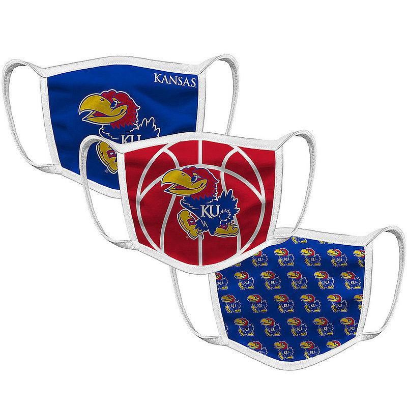 Kansas Jayhawks Retro Face Covering 3-Pack