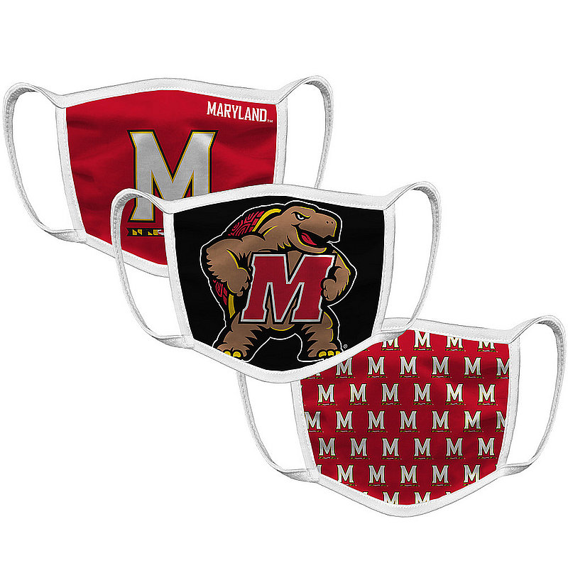 Original Retro Brand Maryland Terrapins Retro Face Covering 3-Pack MYDMSK101A-MYDMSK106A-MYDMSK127A (Original Retro Brand)
