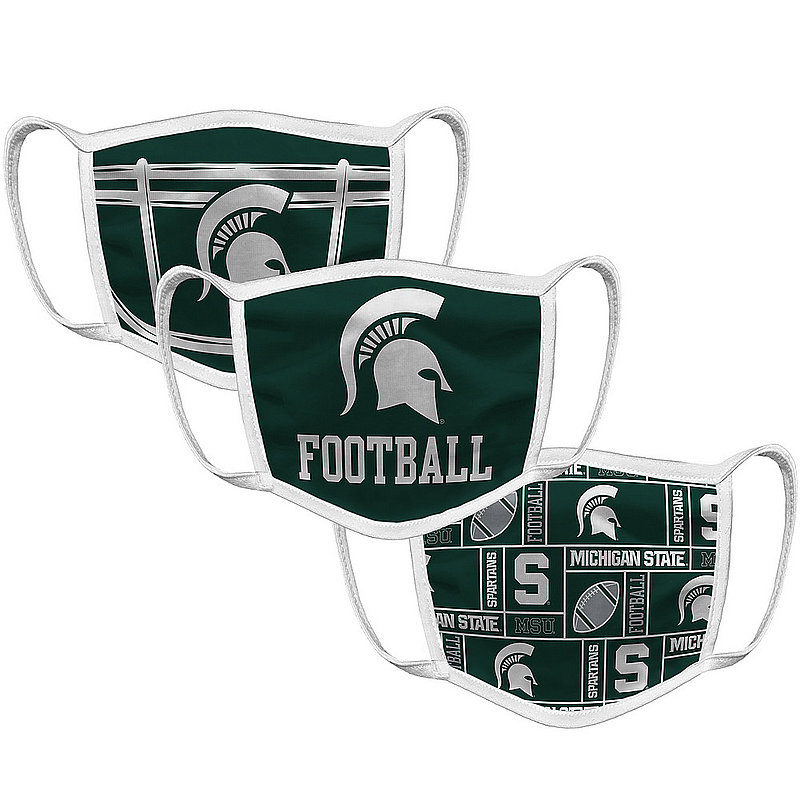 Original Retro Brand Michigan State Spartans Retro Face Covering 3-Pack Football MSUMSK032A-MSUMSK033A-MSUMSK022A (Original Retro Brand)