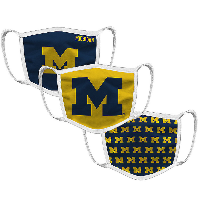 Original Retro Brand Michigan Wolverines Retro Face Covering 3-Pack MICMSK101A-MICMSK106A-MICMSK127A (Original Retro Brand)
