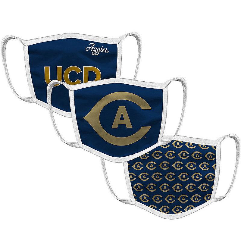 Original Retro Brand UC Davis Aggies Retro Face Covering 3-Pack UCDMSK101A-UCDMSK106A-UCDMSK127A (Original Retro Brand)