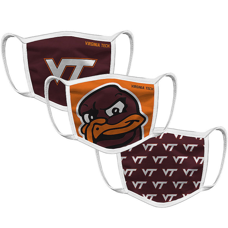 Original Retro Brand Virginia Tech Hokies Retro Face Covering 3-Pack VATMSK101A-VATMSK106A-VATMSK127A (Original Retro Brand)