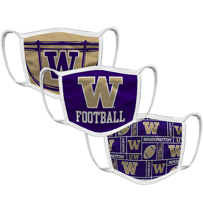 Original Retro Brand Washington Huskies Retro Face Covering 3-Pack Football WASMSK032A-WASMSK033A-WASMSK022A (Original Retro Brand)