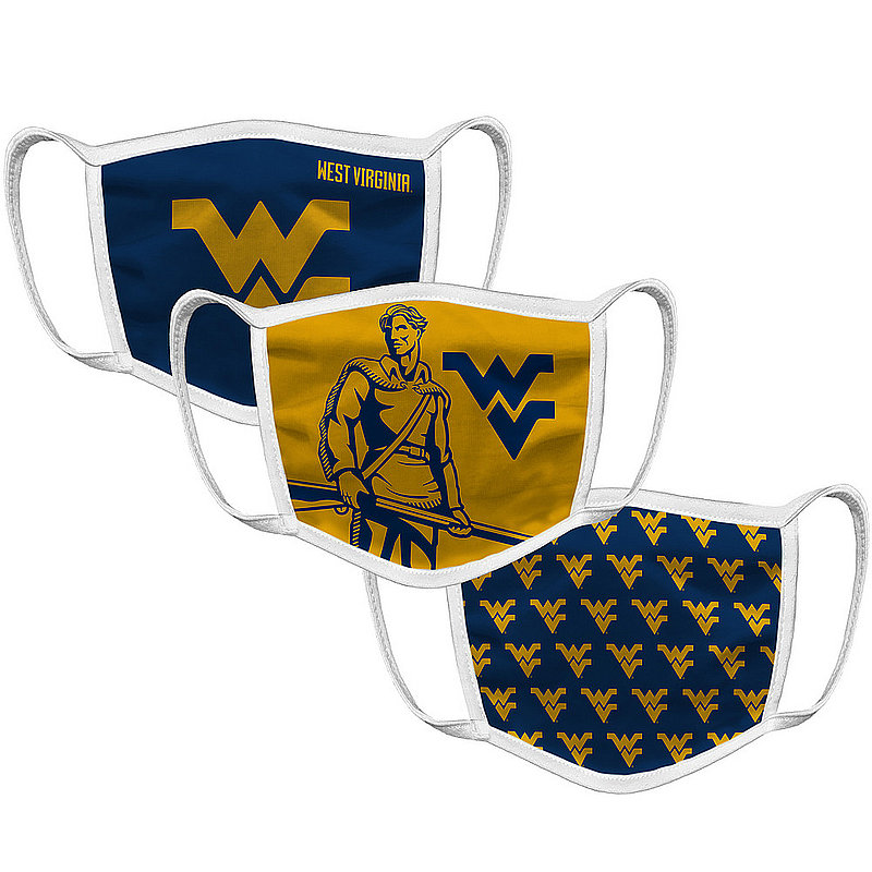 Original Retro Brand WVU West Virginia Mountaineers Retro Face Covering 3-Pack WVUMSK101A-WVUMSK106A-WVUMSK127A (Original Retro Brand)