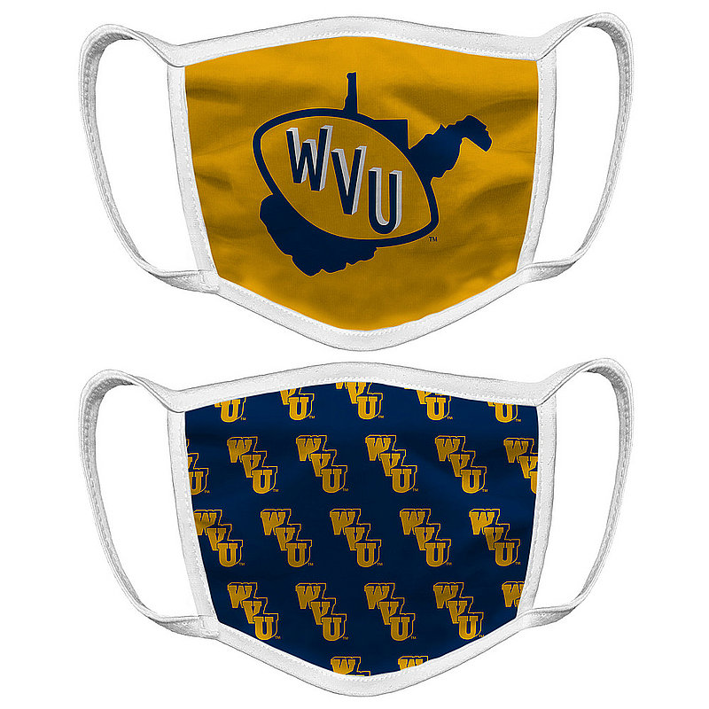 Original Retro Brand WVU West Virginia Mountaineers Retro Face Covering Vault 2-Pack WVUMSK050A-WVUMSK058A (Original Retro Brand)