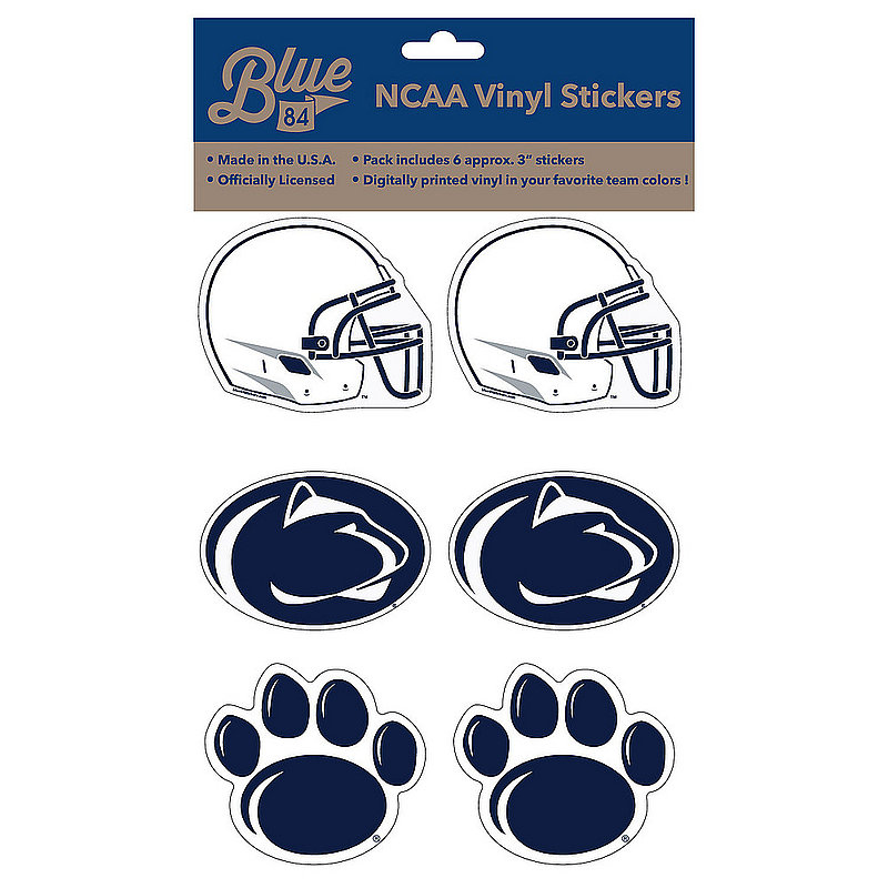 """Penn State Nittany Lions 3"""" Vinyl Decal 6-Pack"""