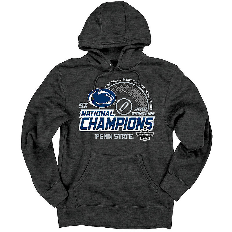Penn State Nittany Lions National Wrestling Champs Hooded Sweatshirt 2019 Charcoal HOT DATE