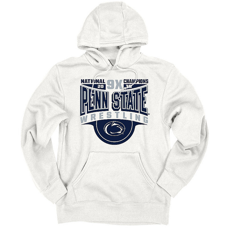 Penn State Nittany Lions National Wrestling Champs Hooded Sweatshirt 2019 White BUFF