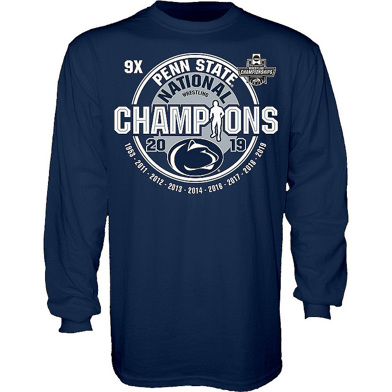148f48fc Penn State Nittany Lions National Wrestling Champs Long Sleeve Tshirt 2019  Navy 9X CHEAP POP