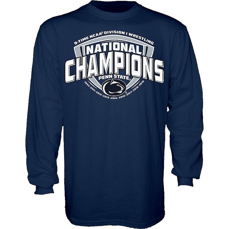 Penn State Nittany Lions National Wrestling Champs Long Sleeve Tshirt 2019 Navy REFUSAL