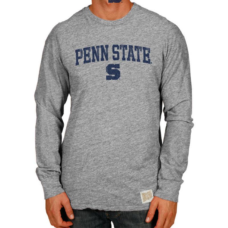Penn State Nittany Lions Retro TriBlend Long Sleeve Tshirt Gray CPNN065B