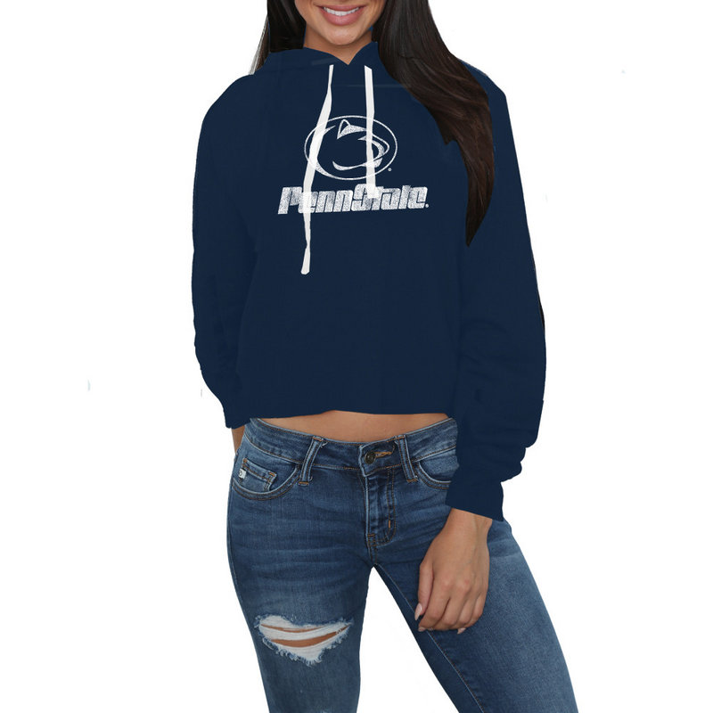 Penn State Nittany Lions Womens Crop Hoodie Sweatshirt CPNN124A_NAV