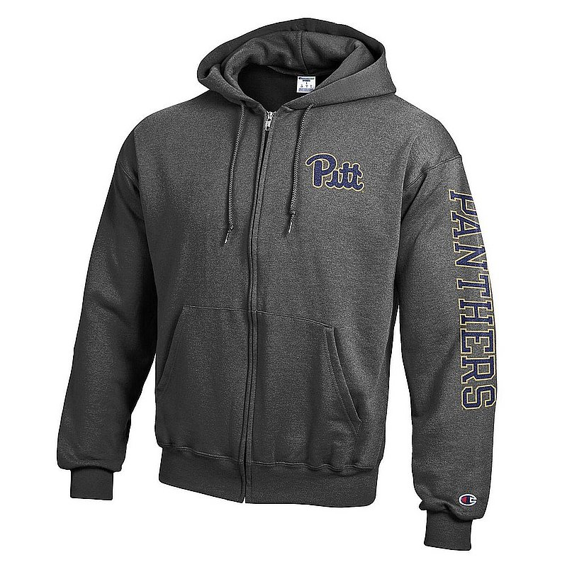 Pitt Panthers Full Zip Hooded Sweatshirt Letterman Charcoal APC02973747/APC02973748