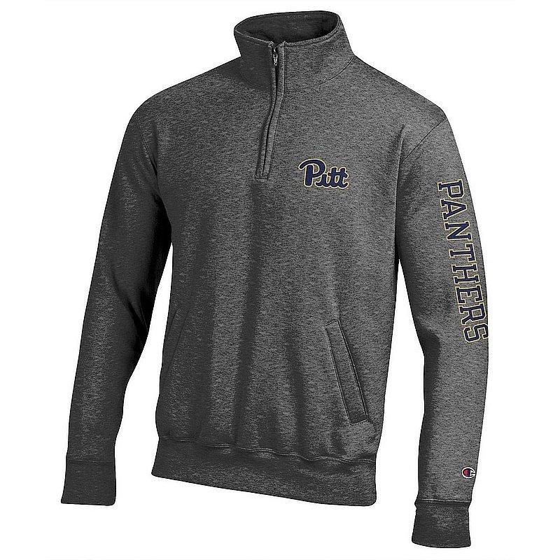 Pitt Panthers Quarter Zip Sweatshirt Letterman Charcoal