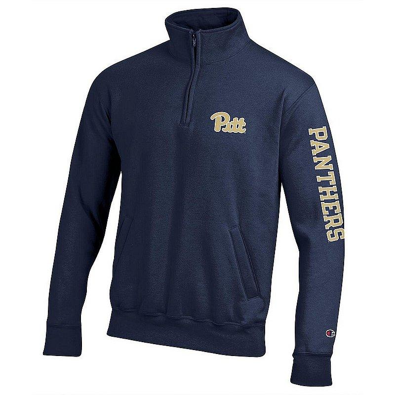 Pitt Panthers Quarter Zip Sweatshirt Letterman Navy