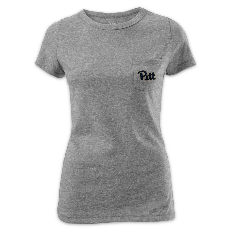 Pitt Panthers Women's Pocket TShirt Gray R11-99504