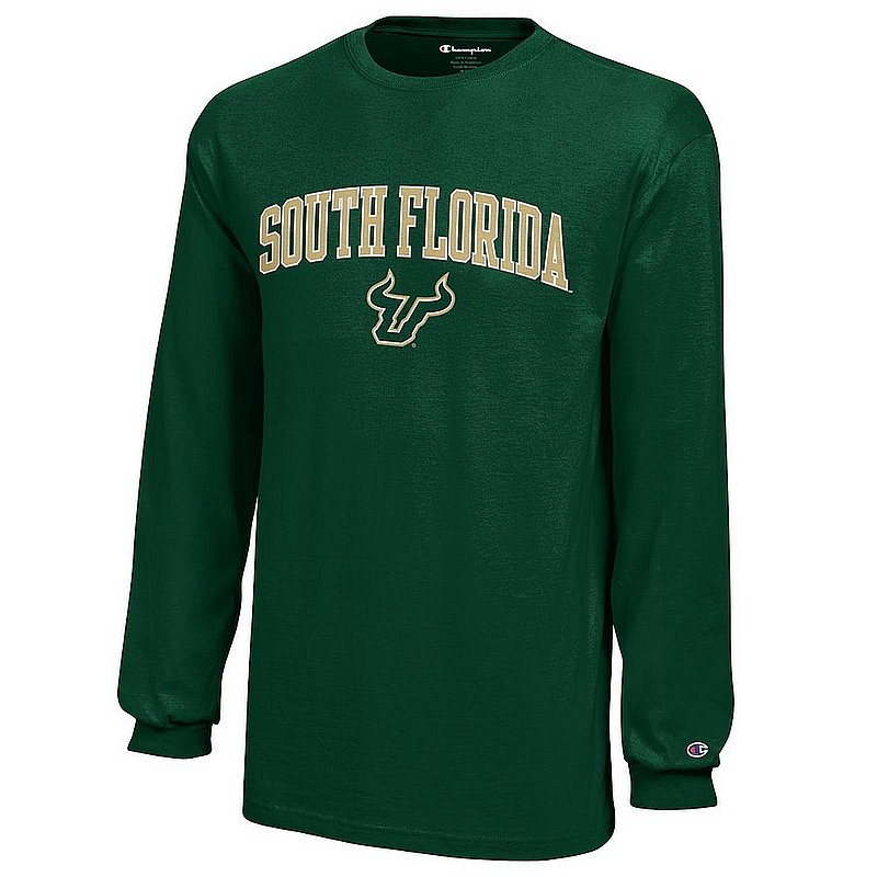 South Florida Bulls Kids Long Sleeve TShirt Arch Green APC03009025