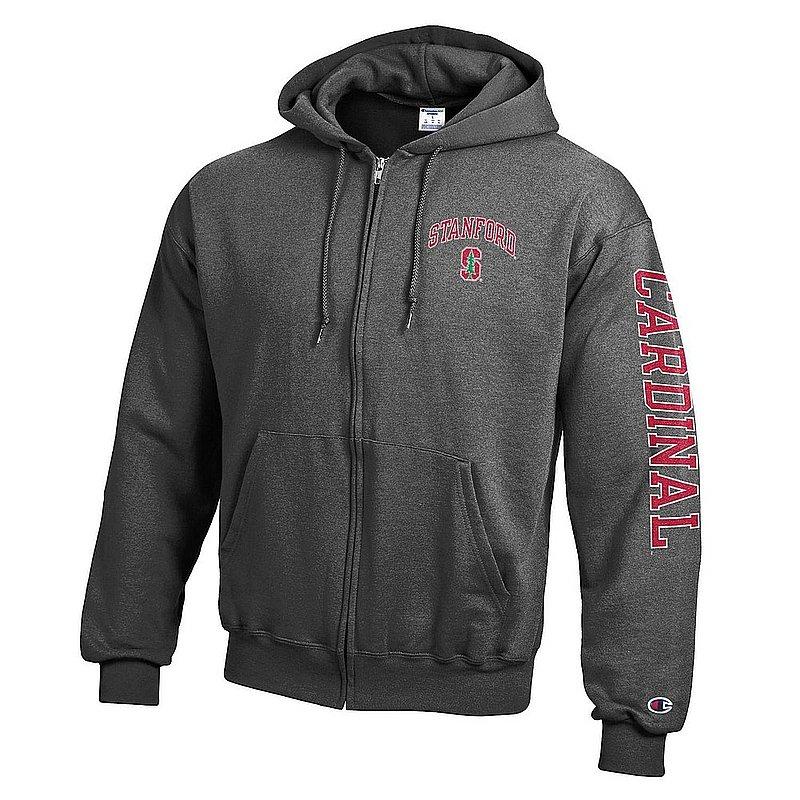 Stanford Cardinal Full Zip Hooded Sweatshirt Letterman Charcoal APC02990723/APC02990715