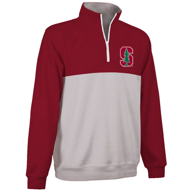 Stanford Cardinals Quarter Zip Sweatshirt Crimson and Gray STN9A660