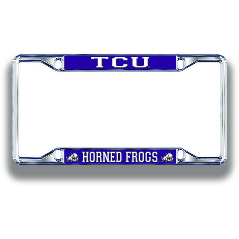 TCU Horned Frogs License Plate Frame Silver 22964