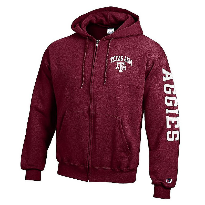 Texas A&M Aggies Full Zip Hooded Sweatshirt Letterman Maroon APC02990821/APC02990823