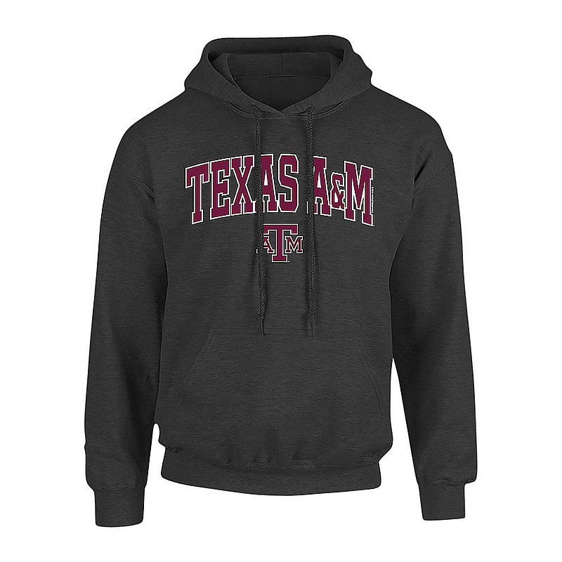 Texas A&M Aggies Hooded Sweatshirt Arch Over Plus Size 2X 3X 4X 5X Charcoal
