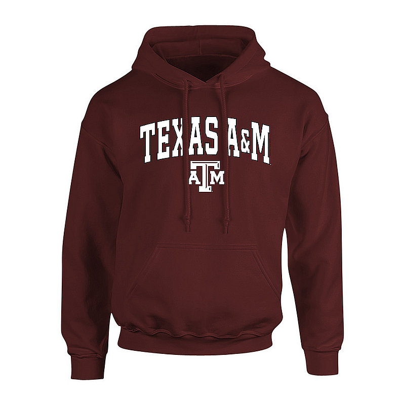 Texas A&M Aggies Hooded Sweatshirt Arch Over Plus Size Maroon
