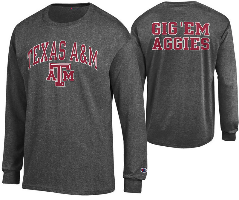 Texas A&M Aggies Long Sleeve Tshirt Back Charcoal APC02880185/APC02880047