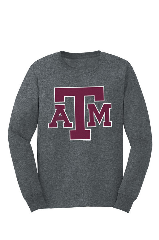 Texas A&M Aggies Long Sleeve Tshirt Charcoal Icon TAMCHSC3166