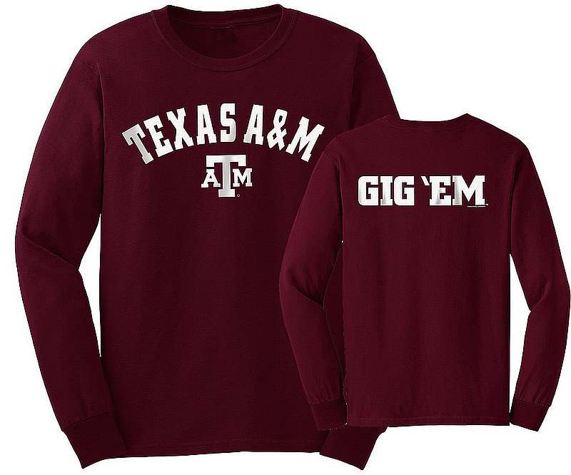 Texas A&M Aggies Long Sleeve Tshirt Maroon Gig 'Em