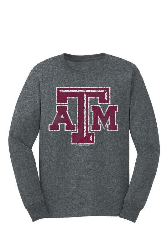 Texas A&M Aggies Long Sleeve Tshirt Vintage Icon Charcoal TAMCHSC3121