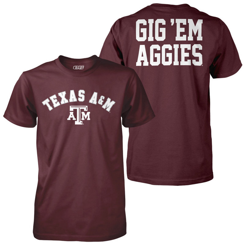 Texas A&M Aggies Poly Gig 'Em TShirt Maroon