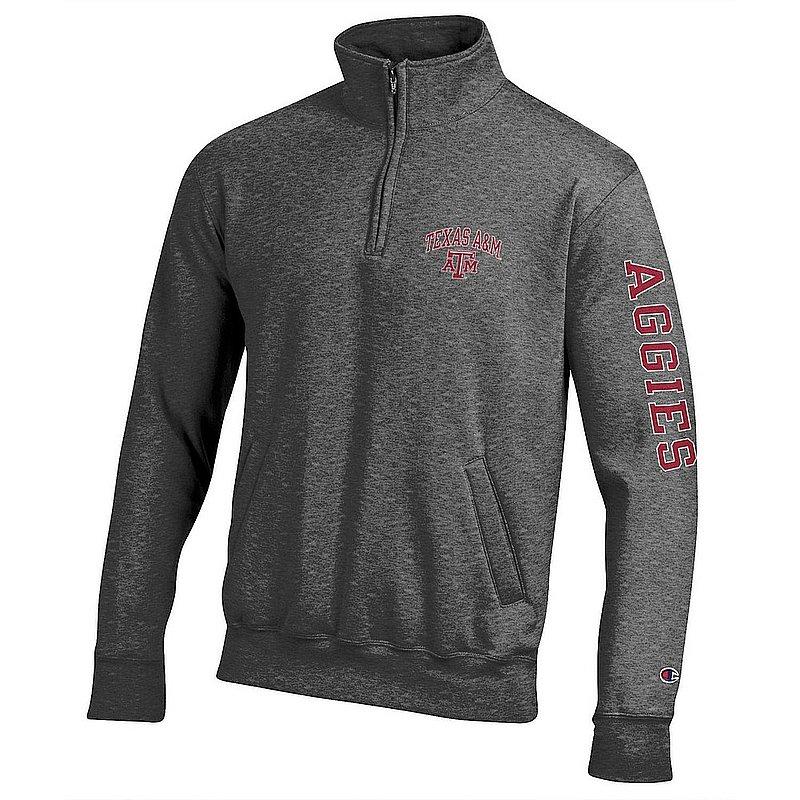 Texas A&M Aggies Quarter Zip Sweatshirt Letterman Charcoal APC02990824/APC02990827