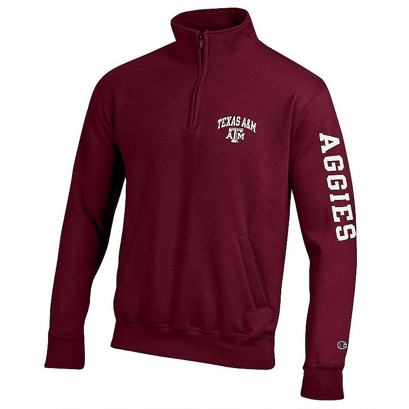 Texas A&M Aggies Quarter Zip Sweatshirt Letterman Maroon APC02990821/APC02990823