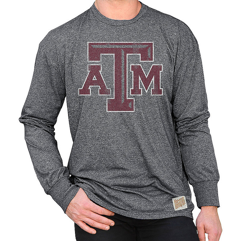 Texas A&M Aggies Retro Long Sleeve TShirt Charcoal CTAM0S5B_RB424M_MTCH