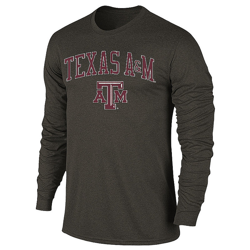 Texas A&M Aggies Vintage Long Sleeve Tshirt Charcoal Victory TAMV2901A-_TV402_HBK