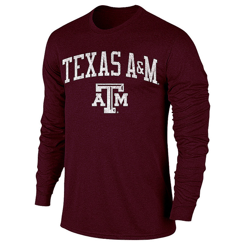 Texas A&M Aggies Vintage Long Sleeve Tshirt Maroon Victory TV402_TAMV1412A_HMR