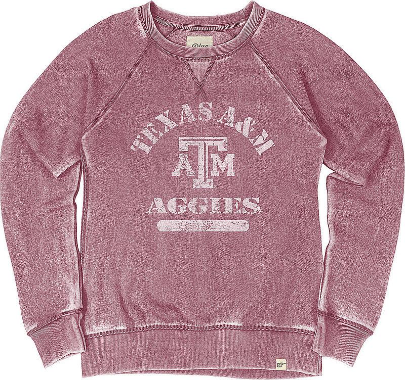 Texas A&M Aggies Womens Burnout Crewneck Sweatshirt Vintage S7FG_JBWFC_CRANBRY