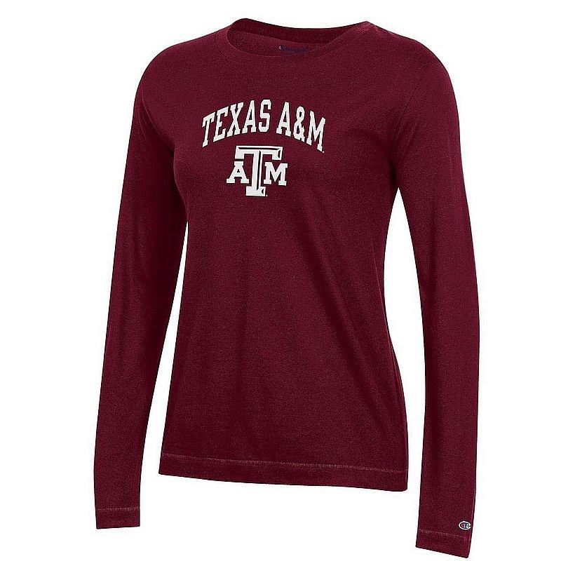 Texas A&M Aggies Womens Long Sleeve TShirt Maroon Arch