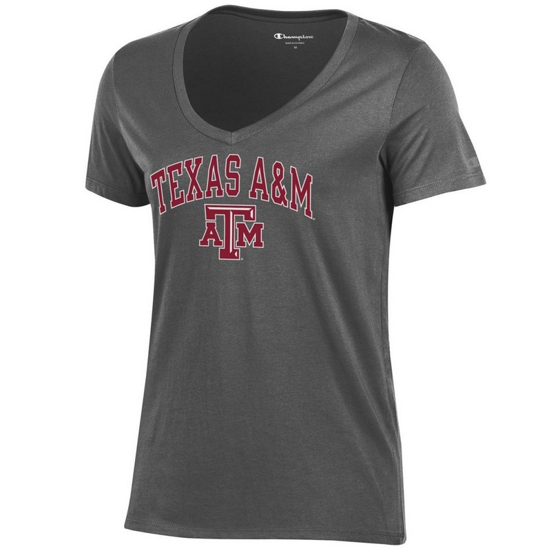 Texas A&M Aggies Womens VNeck TShirt Charcoal