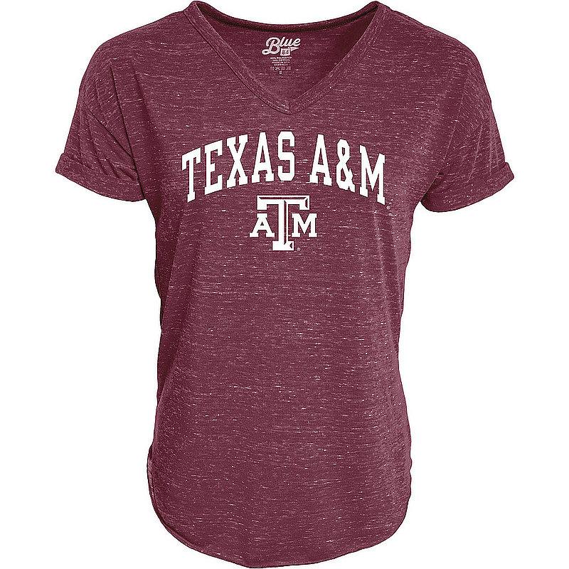 Texas A&M Aggies Womens Vneck TShirt Maroon C73M-JCNRV