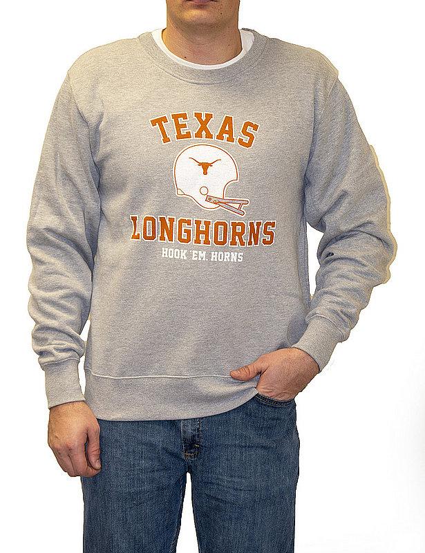 Texas Longhorns Crewneck Sweatshirt Helmet Gray